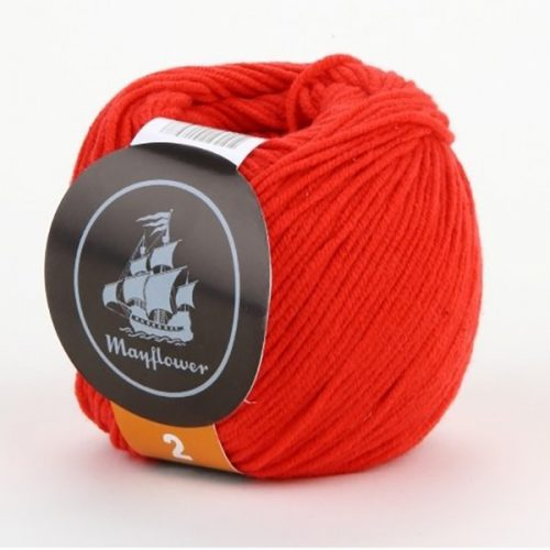 mayflower-cotton-2-garn-unicolor-245-roed